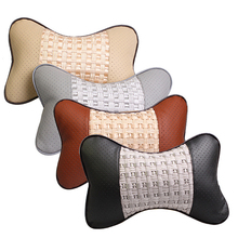 BLUELANS Car Neck Pillow Creative 3D Bone Elastic Silk Faux Leather  Hole-digging Car Headrest pillow Auto Safety Accessories