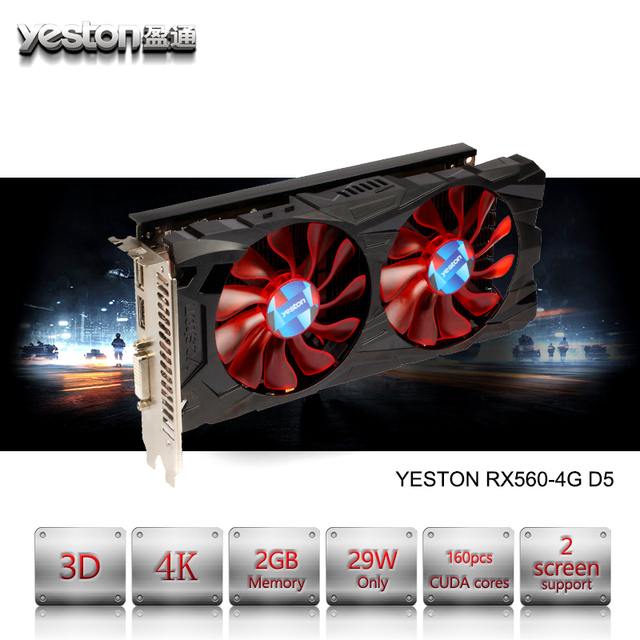 US $167 98 |Yeston Radeon RX 560 GPU 4GB GDDR5 128bit Gaming Desktop  computer PC Video Graphics Cards support DVI/HDMI PCI E X8 3 0-in Graphics  Cards