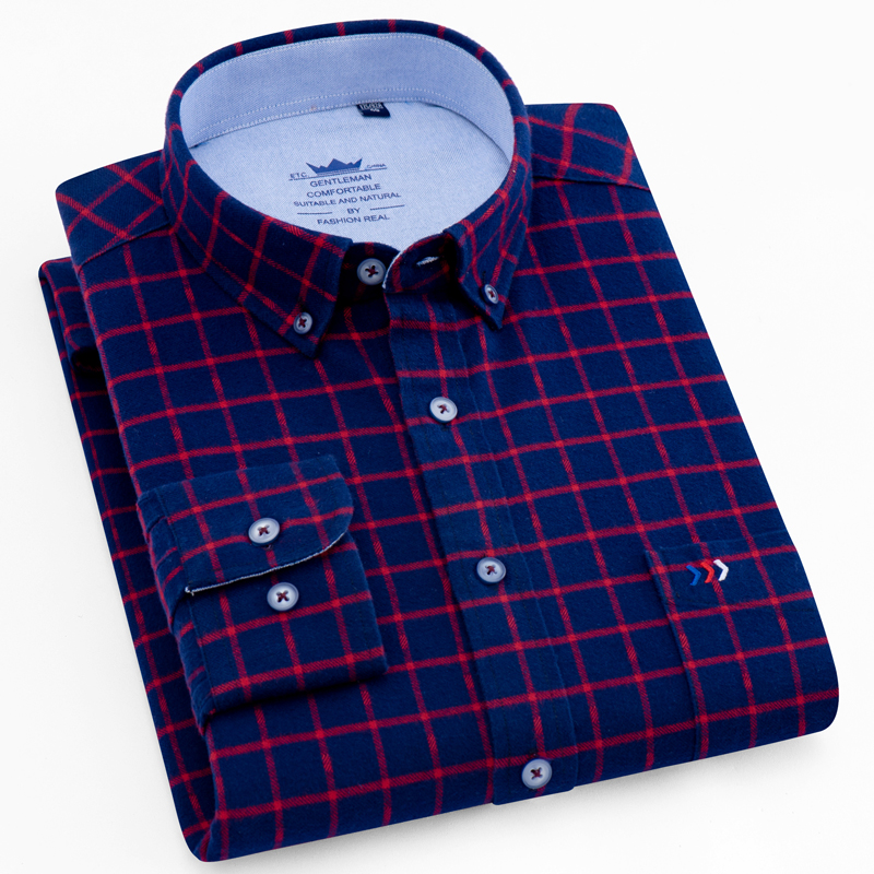Men's Brushed Cotton Plaid Button Down Collar Shirt Single Patch Pocket Long Sleeve Regular-fit Comfortable Flannel Thick Shirts