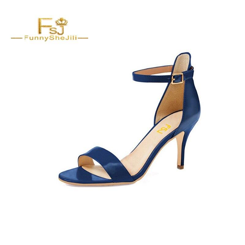 15 Uu Amarillo Punta Tacones fsj01 Zapatos Verano fsj04 Sandalias Cómodo Ee Tobillo Correa Gatito Azul Mujeres Fsj03 Charol Abierto fsj02 Hebilla Medio Estrecha Tamaño Fsj 6RU0xwU