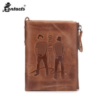CONTACT S M2016 Men Wallets Top Cow Leather Vintage Design Purse Characters Standard Wallets Genuine Leather