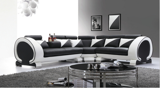 Moderne bank sectionele l shap voor woonkamer lederen sofa in ...