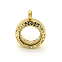 10Pcs/lot 20mm Gold Locket Stainless Steel Mini Magnetic With Crystals Floating Charms Memory
