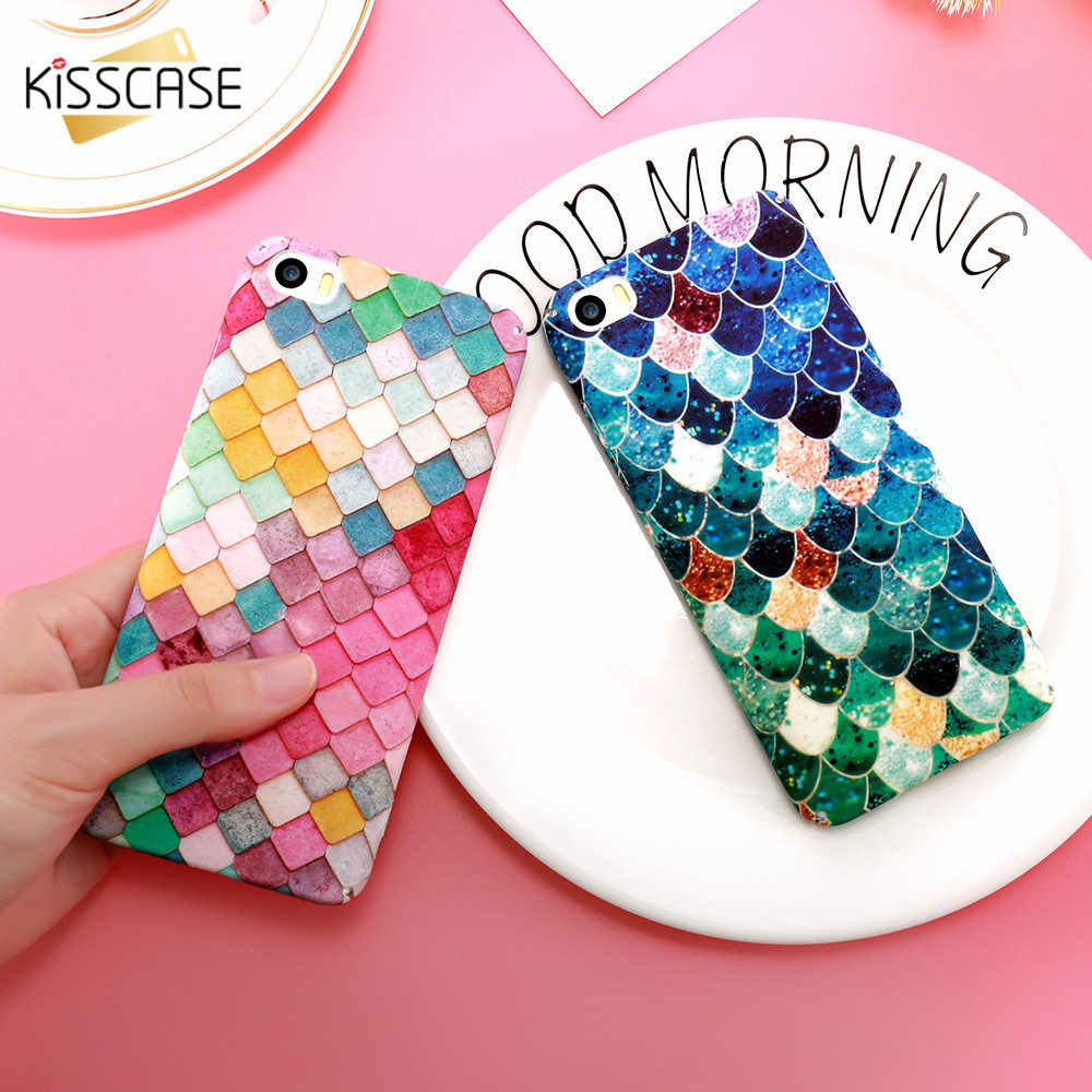 KISSCASE Linda funda de teléfono mate luminosa para iPhone 7 8 6 6 s Plus funda de escala de sirena 3D para iPhone X XS X Max XR Capa Coque