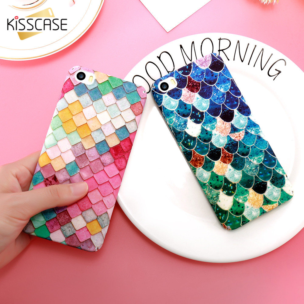 KISSCASE Søt Lysende Matte Telefonveske For iPhone 7 8 6 6s Pluss Cover Mermaid 3D Scale Cover for iPhone X XS Max XR Capa Coque