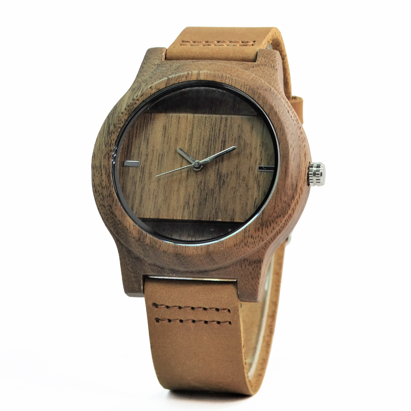 New Fashion Hollow Out Design Walnut Wood Wristwatch For Male With Brown Genuine Leather In Creat Box коляска трость concord quix plus walnut brown 2016