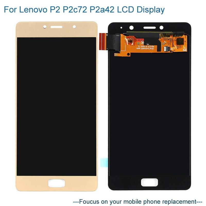 Pour Lenovo P2 P2c72 P2a42 écran LCD + noir or écran tactile numériseur assemblée remplacement pour Lenovo P2 P2c72 téléphones mobiles