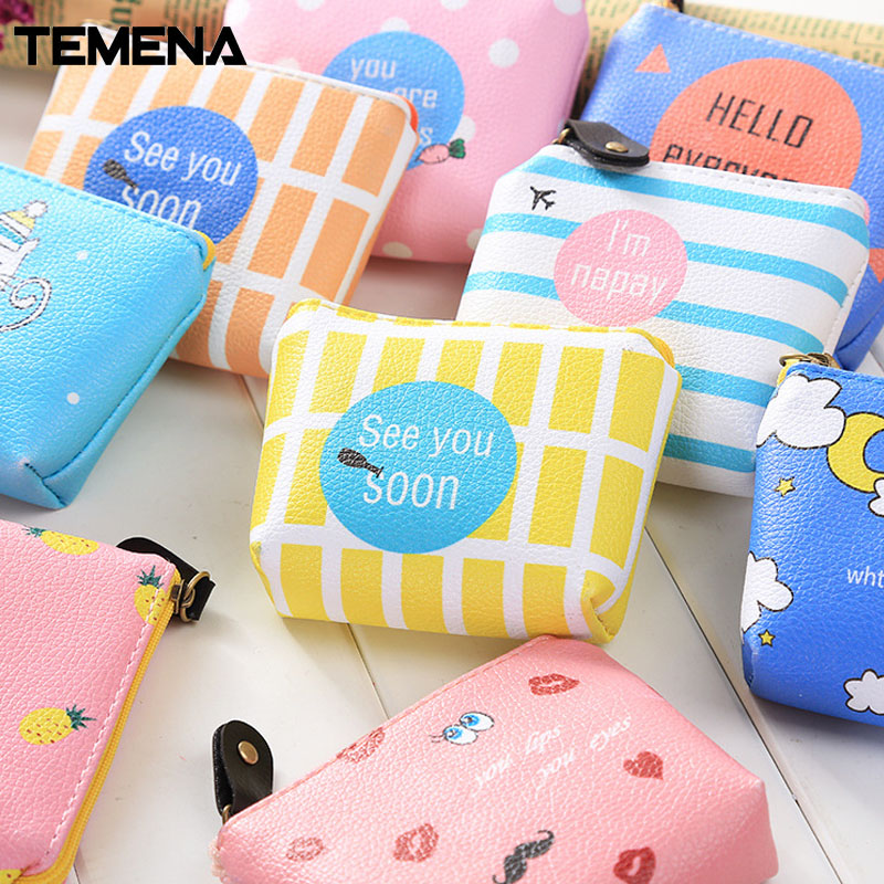 Temena Creative Women Purses Cartoon Small Fresh Summer Party Banana Cat Headset Line Coin Purse Card Bag 10Styles DesignsACP330 kawaii fresh summer fruits banana