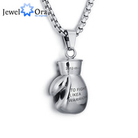 Personalized Engraved Names Fitness Boxing Gloves Accessories Men Stainless Steel Necklaces & Pendants (JewelOra NE101308)