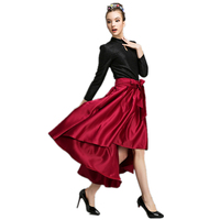 Free Shipping 2017 new gorgeous bow Front short Back long irregular dovetail skirt big European and American women Skirts Z2013