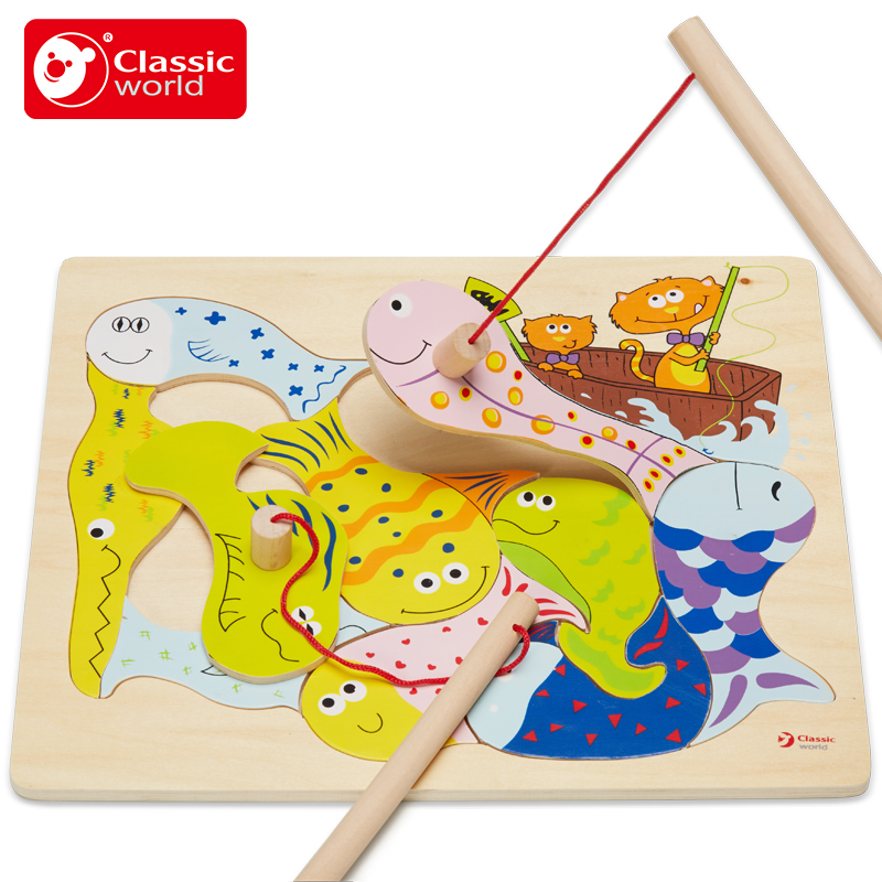 Classic world Baby toy magnetic fishing Game Board Large 1 3 years old child parent child wooden puzzle Outdoor Fun kids gift