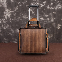 Men's genuine leather trolley case travel bag with wheels Cowhide luggage bag Big weekend bag man suit case rolling luggage