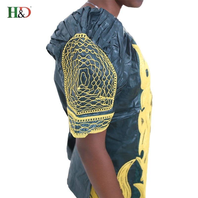 H & D african bazin for kvinner klær 2017 broderi Tradisjonell jupe - Nasjonale klær - Bilde 5
