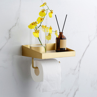Marble Brass Shelf Bathroom Accessories Shelf Basket Wall Mounted Toilet Roll Paper Holder Brushed Gold Toilet Paper Holder