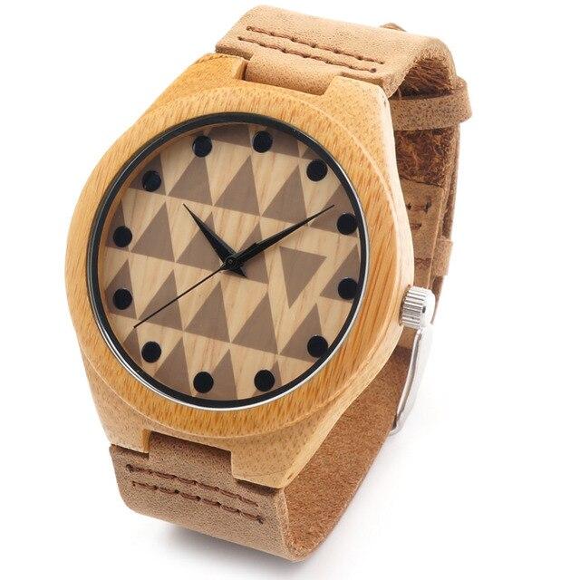 Bobobird RT0450 Влюбленных Дизайн Бренда Роскошный Деревянный Бамбука Часы Натуральной Кожи Кварцевые Часы в Подарочной Коробке