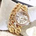 Venta caliente de La Nueva Doble Cadena de Oro Ginebra Relojes Mujeres de Lujo Famosa Marca Reloj Mujer Hodinky Mujeres Famosas Marca De Lujo