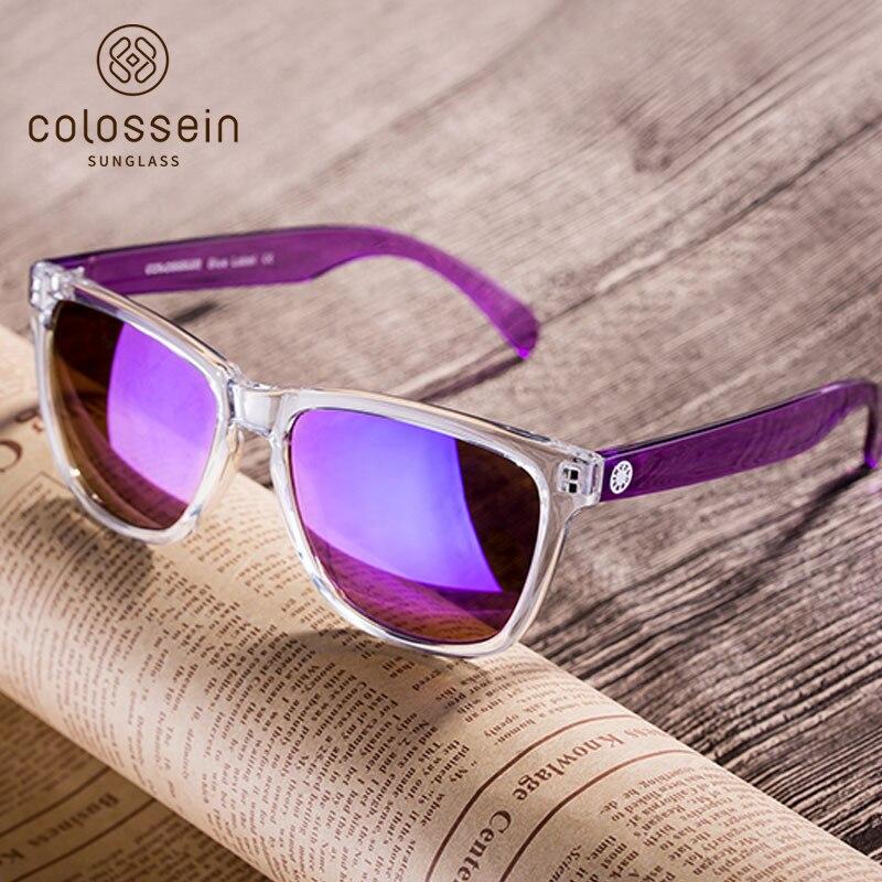 COLOSSEIN Mode lunettes de Soleil Femmes Marque Rectangle Puple Cadre D'été Lunettes Populaire Femelle Plage Lunettes de Lunettes De Soleil Hommes En Plein Air