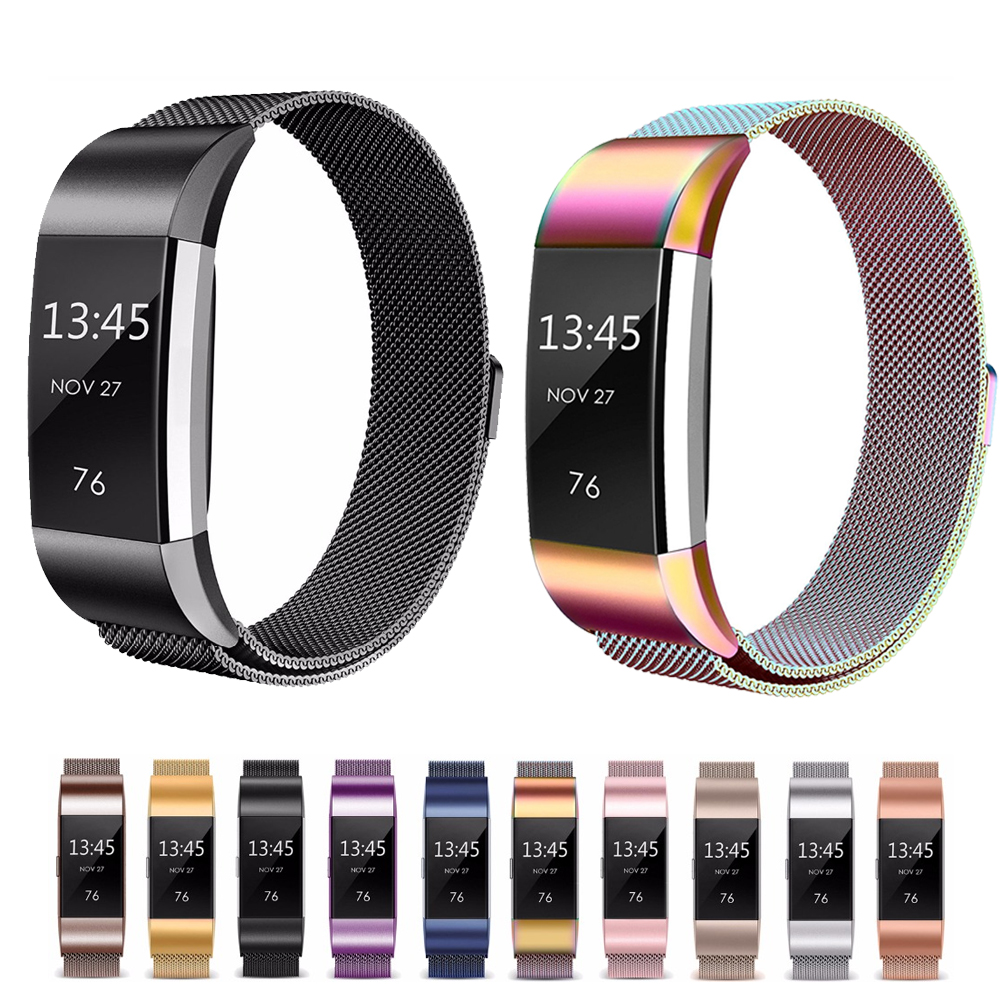 Milanese Loop Horloge Band voor fitbit lading 2 band Vervanging armband Magnetische Gesp Horlogeband Fitbit Charge2 Accessoires