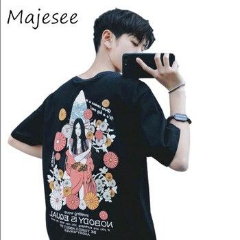 Harajuku Students BF Loose Mens T-shirt Summer Men Short Sleeve T-shirts Japanese Korean Breathable Top Fashion Male Soft Tops