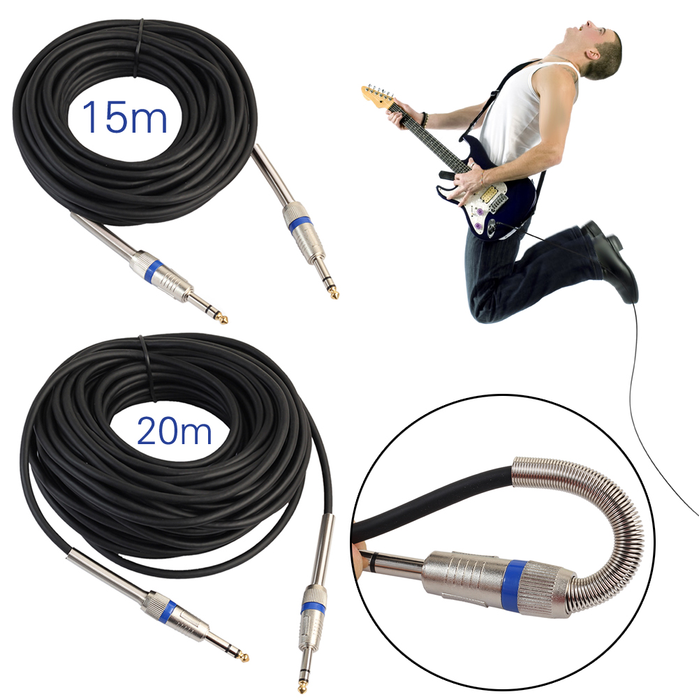 1/4 Jack 6.35mm Audio Male to Male Stereo Cable for Amplifier Electric Guitar Mixer Micphone Speaker Wire Cord 5M 10M 15M 20M