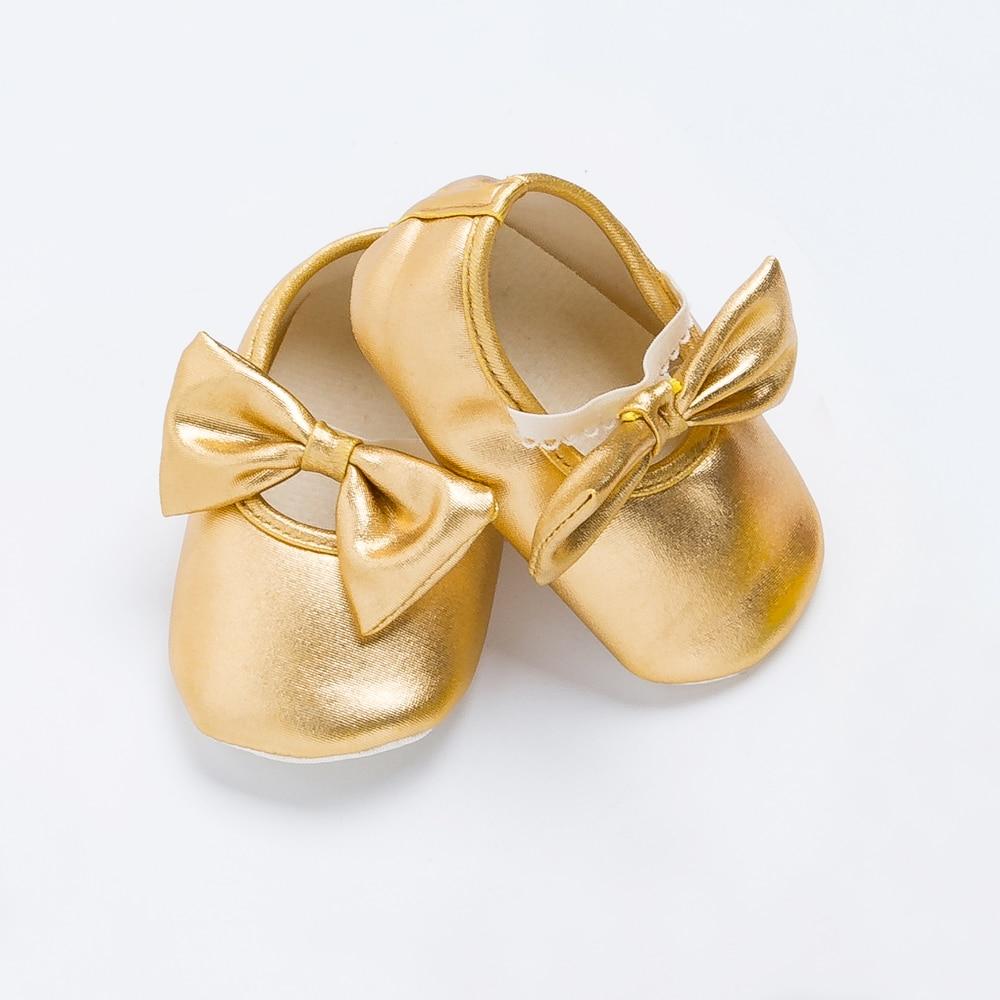 Щепка золото новорожденный первый уокер натуральная кожа мягкие младенцев хлопок девочка с бантом обувь малыша детские мокасины 0-2Y