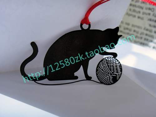 Personalized Line Ball Kitten Empty Thread Metal Bookmark