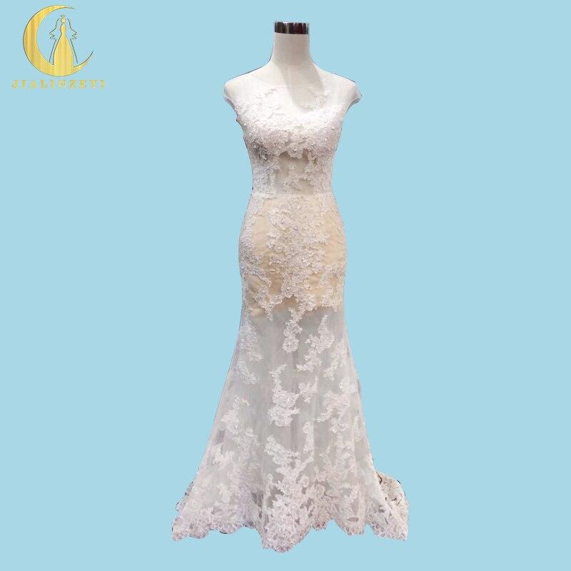Ryzí skutečný vzorek Sexy vidět skrz nahé podšívka krajky aplikuje Mermaid svatební svatební šaty Svatební šaty