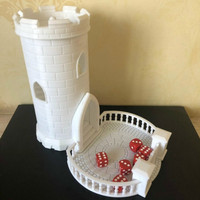 Dice Tower Dungeons And Dragons DND Miniature Building Resin Figure Model Kit With Tray & Castle Spiral Staircase 3D Printed