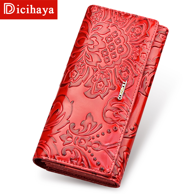 NEW Genuine Leather Women Wallets Embossing Flower Brand Design High Quality Card Holder Long Lady Wallet Clutch Purse Phone Bag