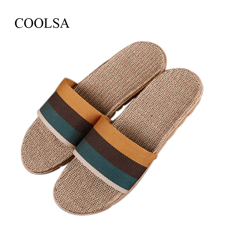 COOLSA Men's Summer Linen Silppers Breathable Non-slip Fashion Home Slippers Men's Hemp Basic Slides Men's Indoor Flax Slippers coolsa women s summer flat non slip linen slippers indoor breathable flip flops women s brand stripe flax slippers women slides