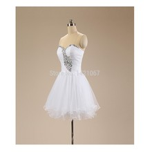 Heißer Verkauf Chic A-Line Weiß Prom Kleid mit Perlen und Kristall kurze Chiffon Frauen Abendkleid Benutzerdefinierte Vestido De Festa