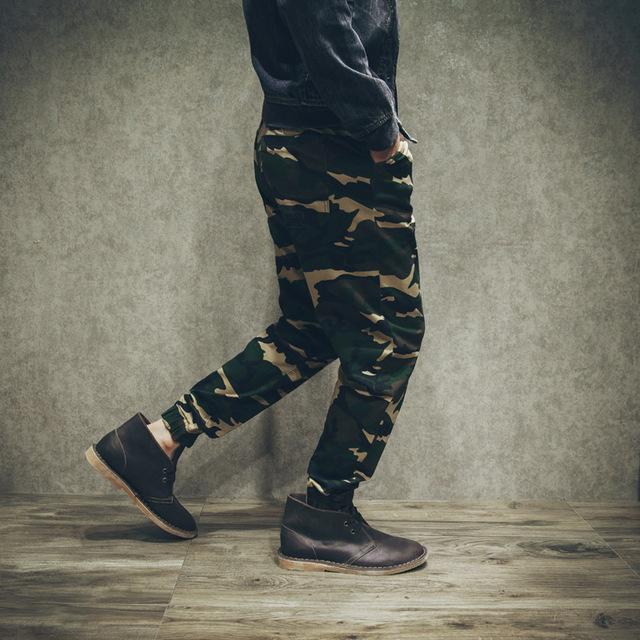 Homens Camuflagem Calça Casual High Street Fashion Hiphop Homens Calça Harém Calças Soltas Masculinos Plus Size XS-4XL