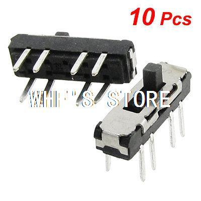 10 Pcs Vertical Double Row 8 Pin On Off On 3 Position 2P3T Mini Slide Switch 5pcs lot high quality 2 pin snap in on off position snap boat button switch 12v 110v 250v t1405 p0 5
