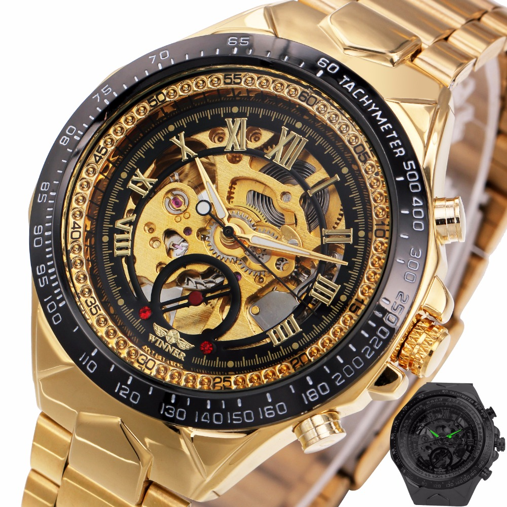 2017 new fashion men mechanical watch winner golden top brand luxury steel automatic classic skeleton wristwatch