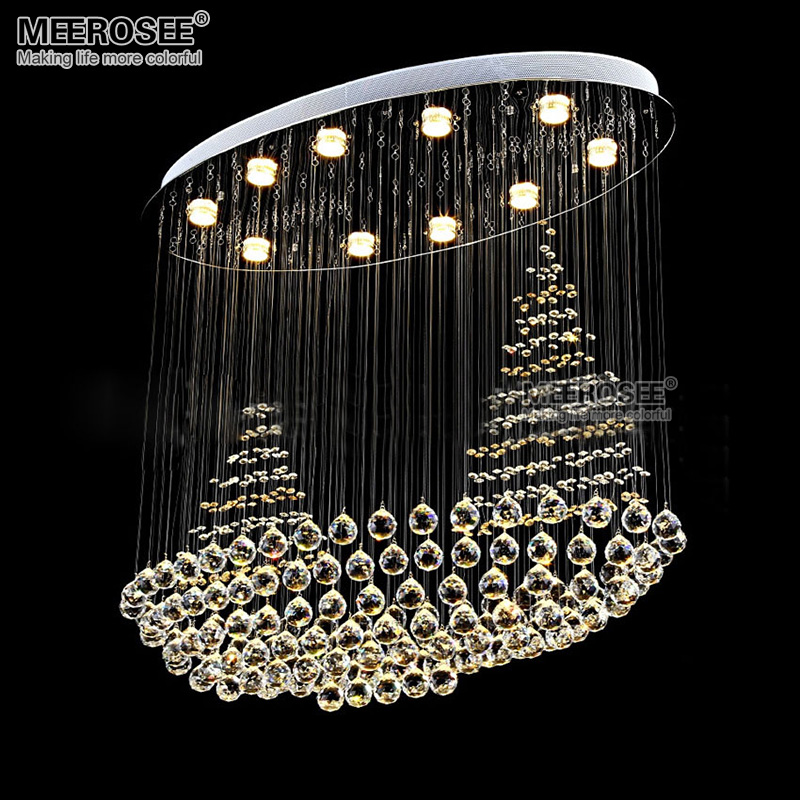 Oval Crystal Ceiling Light Fixture Flush Mounted Lustres De Sala K9