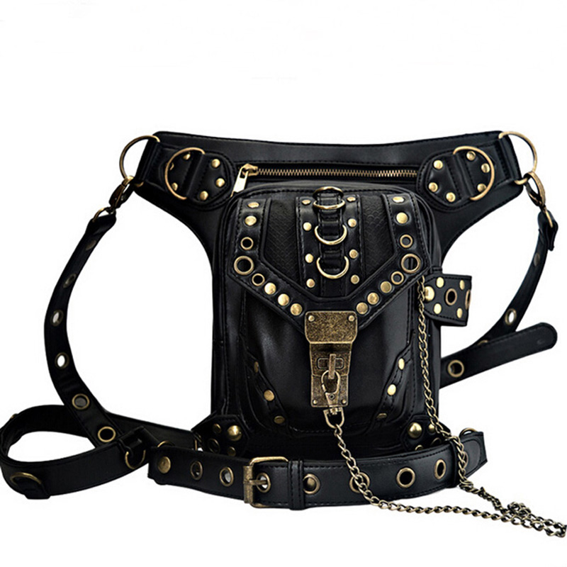 New Designer Steampunk Retro Rock Gothic Goth Shoulder Waist Bags Packs Victorian Style for Women Men +Leg Thigh Holster Bag chrismas gift steampunk bag steam punk retro rock gothic bag goth shoulder waist bags packs victorian style women men leg