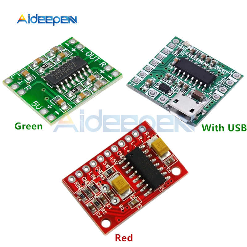 DC 2.5 V-5.5 V PAM8403 Super Mini Digital Amplifier Papan 2X3 W Kelas D Amplifier Digital papan Efisien Micro USB Power Supply