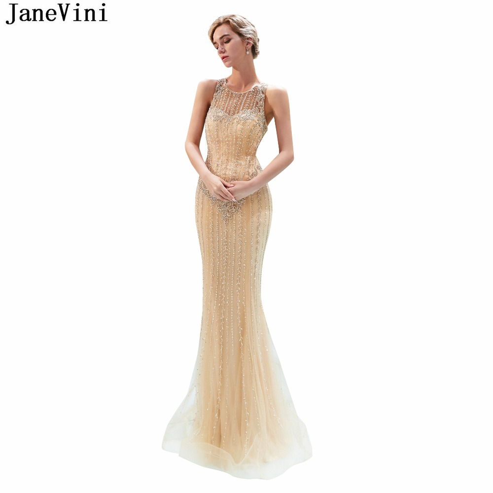 JaneVini Luxury Beading Mermaid Tulle   Bridesmaid     Dresses   Sleeveless Illusion Back Long Prom Party Gowns Floor Length Damigelle
