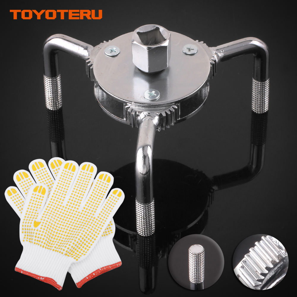 New Auto Car Repair Tools Adjustable Two Way Oil Filter Wrench Tool with 3 Jaw Remover Tool for Cars Trucks 65-130mm with Gloves