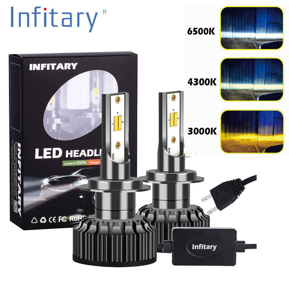 Infitary 2 Pcs H7 LED H1 H11 9005 9012 H4 LED car headlight 3 color changing headlights 3000K 4300K 6500K flash 72W Auto Lights