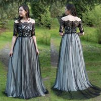 Gothic Black Lace Wedding Dresses Off The Shoulder Half Sleeves Illusion Buttons Back Country Mariage Gowns Custom Made Vestidos