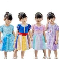Baby Girls Princess Dress Summer Cotton Short Dresses Snow White Alice Sofia Clothes Party Dresses For