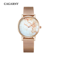 Cagarny Creative Imitation Marble Face Watch Women Rose Gold Steel Mesh Bracelet Watch Ladies Dress Quartz Wristwatches Relogio