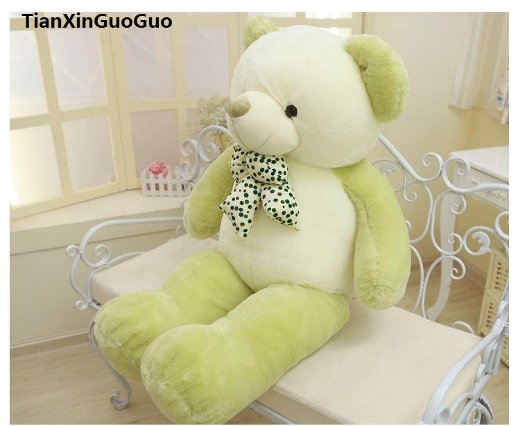 stuffed plush toy bowtie teddy bear large 100cm green bear doll soft throw pillow,birthday gift h0701 stuffed animal largest 200cm light brown teddy bear plush toy soft doll throw pillow gift w1676