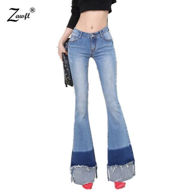 844b22b71b21 € 28.8 |ZAWFL Runway Jeans para mujer 2019 pantalones vaqueros acampanados  mujer estilo Retro campana inferior Skinny Jeans mujer Sexy Jeans Mujer en  ...