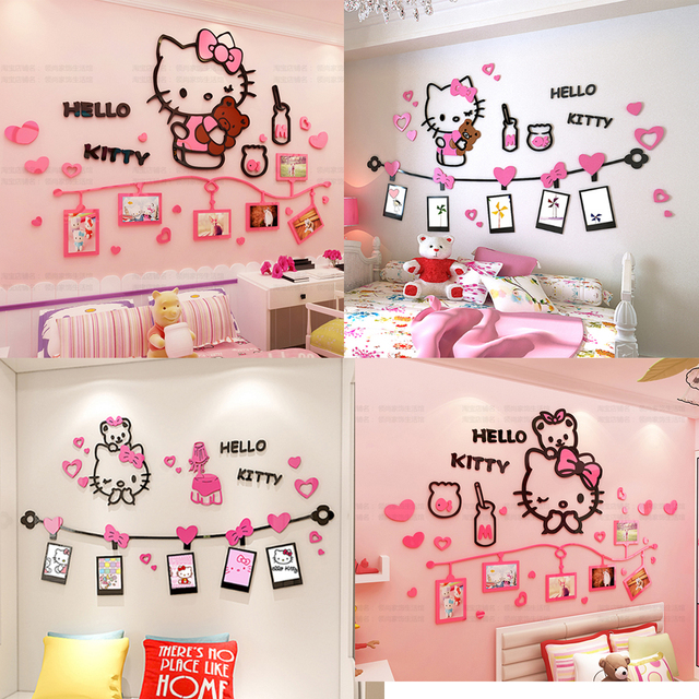 Cute Cartoon Hello Kitty Acrylic Wall Sticker Kids Girls Room Decor