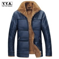 New Loose Fit Oversize 8XL Faux Leather Jacket Men Fur Lining Thick Warm Stand Collar Zipper Plaid PU Leather Jacket Male Coat