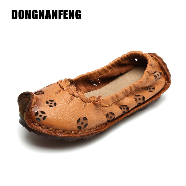 67cd76c7595 DONGNANFENG Women Flats Old Mother Shoes Cow Genuine Leather Loafers Hollow  Slip On Pigskin Casual Suede Vintage Size 35-40 YD-4