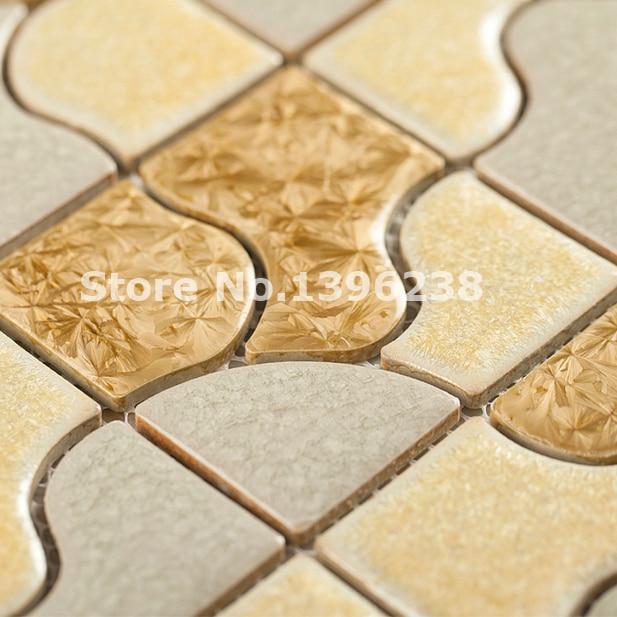FREE SHIPPING Glossy golden ceramic mosaic wall tiles,Kitchen/Bath ...