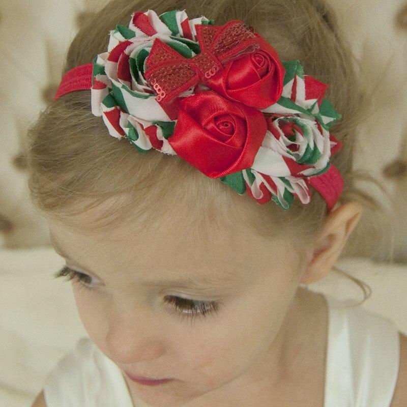 60678946550a6 24 stücke Shabby Blume stirnband Weihnachts Haar accessoires Boutique  blumenhaarbänder Regenbogen Blume stirnbänder 11 Farbe U pick in 24 stücke  Shabby ...